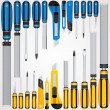 Vector Hand Tools Screwdrivers, Cutters, Files etc — Stock Vector