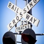 Railway crossing sign — Stock Photo