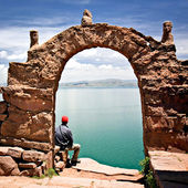 Archway on Taquile Island, Lake Titicaca Peru — Stock Photo