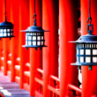 Lanterns at Miyajima's Itsukushima Shrine - Japan — Stock Photo