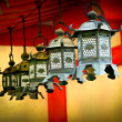 Lanterns at temple in Nara — Stock Photo