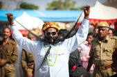 Unidentified contestant in the moustache contest at the Pushkar fair. — Stock Photo