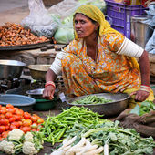 Unidentified woman sells vegetables at fair — Stock Photo
