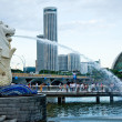 The merlion fountain - Singapore — Stock Photo