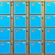 Blue Luggage Lockers — Stock Photo
