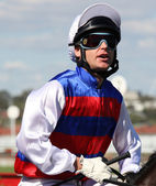 MELBOURNE - MARCH 13: Danny Nikolic on Guru Bob before the Crown Guineas — Zdjęcie stockowe