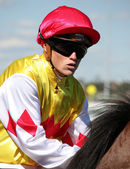 MELBOURNE - MARCH 13: Jockey Craig Williams on Carrara before the start of the Crown Guineas — Stok fotoğraf