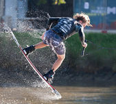 MELBOURNE, AUSTRALIA - MARCH 11:Brenton Priestley in the wakeboard event at the Moomba Masters — Stock Photo