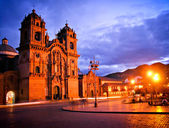 Cathedral in Cusco by night — Stock Photo