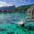 Stock Photo: Overwater bungalows in French Polynesia