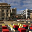 Adelaide's Festival Centre, parliament house, casino and railway station — Foto Stock