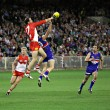 Stock Photo: MELBOURNE - SEPTEMBER 12: Tadhg Kennelly spoils in AFL second semi final