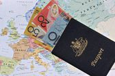 Australian passport and banknotes — Stock Photo