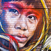 MELBOURNE - JUNE 29: Street art by unidentified artist. Melbourn — Stock Photo