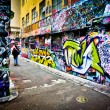 MELBOURNE - AUGUST 14: Street art by unidentified artist. Melbourne's graffiti management plan recognises the importance of street art in a vibrant urban culture — Stock Photo