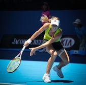 MELBOURNE, AUSTRALIA - JANUARY 26: Maria Kirilenko in action at her quarter final loss to Jie Zheng during the 2010 Australian Open — Stock Photo