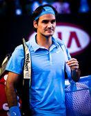 MELBOURNE, AUSTRALIA - JANUARY 25: Roger Federer during his win over Lleyton Hewitt during the 2010 Australian Open — Stock Photo
