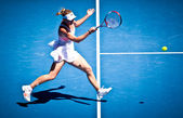 MELBOURNE - JANUARY 23: Caroline Wozniacki of Denmark in her fourth round win over Anastasija Sevastova of Latvia in the 2011 Australian Open — Foto de Stock