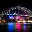 Sydney harbour bridge på natten — Stockfoto