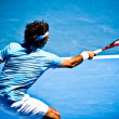 MELBOURNE, AUSTRALI- JANUARY 25: Roger Federer in his win over Lleyton Hewitt during 2010 AustraliOpen — Stock Photo #30319909
