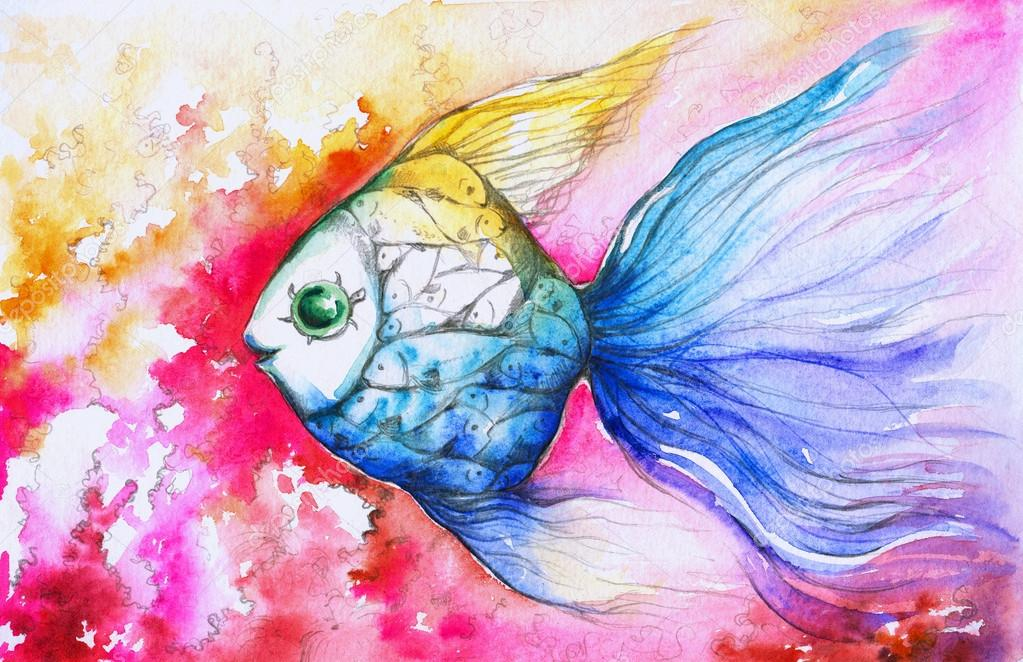 Colorful Fish Painting Colorful Fish Watercolor