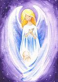 Anioł i dziecko — Zdjęcie stockowe