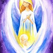 Angel and baby — Stock Photo