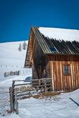 Barn with solar panel — Stock Photo