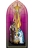 Vector illustration of the holy family of the nativity or birth of Jesus created as stained glass. — Stock Vector