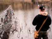 Fishing net poachers — Stock Photo