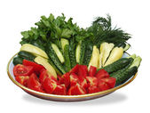 Sliced vegetables on  plate — Stock Photo