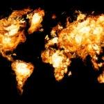 mappa del mondo e tutte le cose relative — Foto Stock
