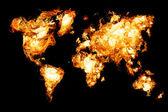 Kaart van de wereld en alle dingen die verband houden — Stockfoto