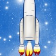 Rocket ship isolated on sky background — Stock Photo