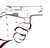 Hand with gun — Stock Photo