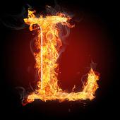 L flamy symbol on black — Stock Photo
