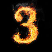 Fonts, numbers and symbols in fire for different purposes — Stockfoto