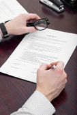 Businessman  signing papers — Stock Photo