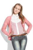 Fashion model close to white background — Stock Photo