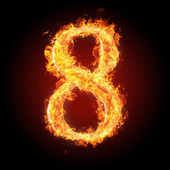Fonts, numbers and symbols in fire for different purposes — Stock Photo
