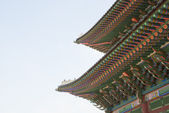 Close up roof of Korean Buddhistic temple ornaments   — Foto Stock