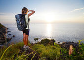 Hiker with backpack — Stock Photo