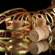 Ribbon and corks — Stock Photo