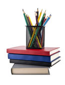 Kitap ve kalemler — Stok fotoğraf