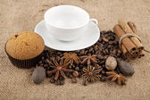 Seasonings and cup — Stock Photo