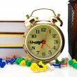 Books, clock and pencils — Stock Photo