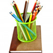 Stock Photo: Notebook and pencils