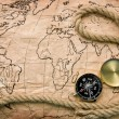 Compass and old map — Stock Photo