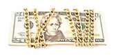 Dollars in a chain — Stock Photo