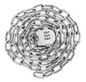Metallic chain with a lock — Stock Photo